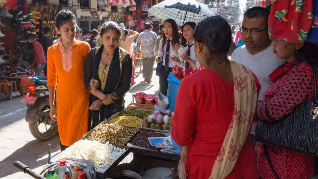 Snack stall at the market in Kathmandu, Nepal.