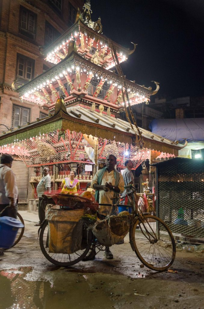 Night markets and shiny temples is a great experience. Kathmandu, Nepal.