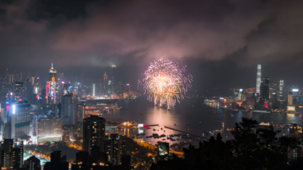Chinese New Year fireworks in Hong Kong 2019