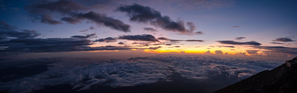 Sea of clouds. Well deserved at the top of Mt. Fuji (3776 meters).