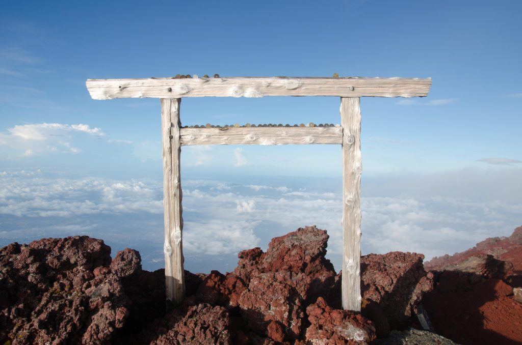 Tori gates. They are all over Japan, incl. top of Mt. Fuji.
