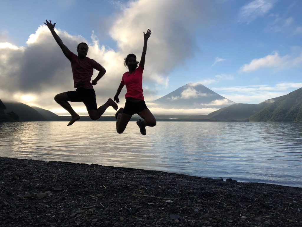 We biked around 4 of 5 so-called Fuji lakes. This shot is from Motosu lake where we camped after 55 km on the bike.